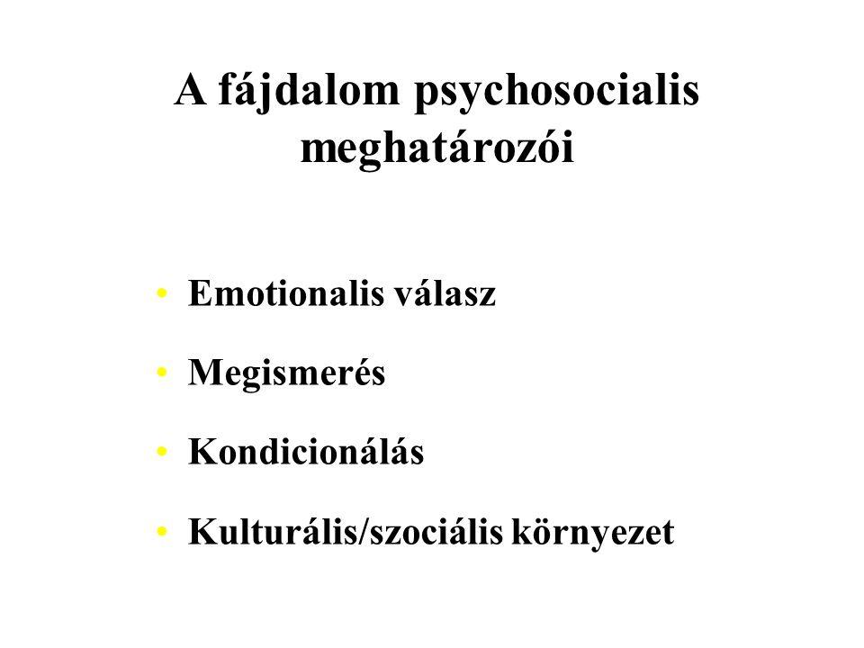 A fájdalom psychosocialis meghatározói Emotionalis válasz Megismerés Kondicionálás Kulturális/szociális környezet