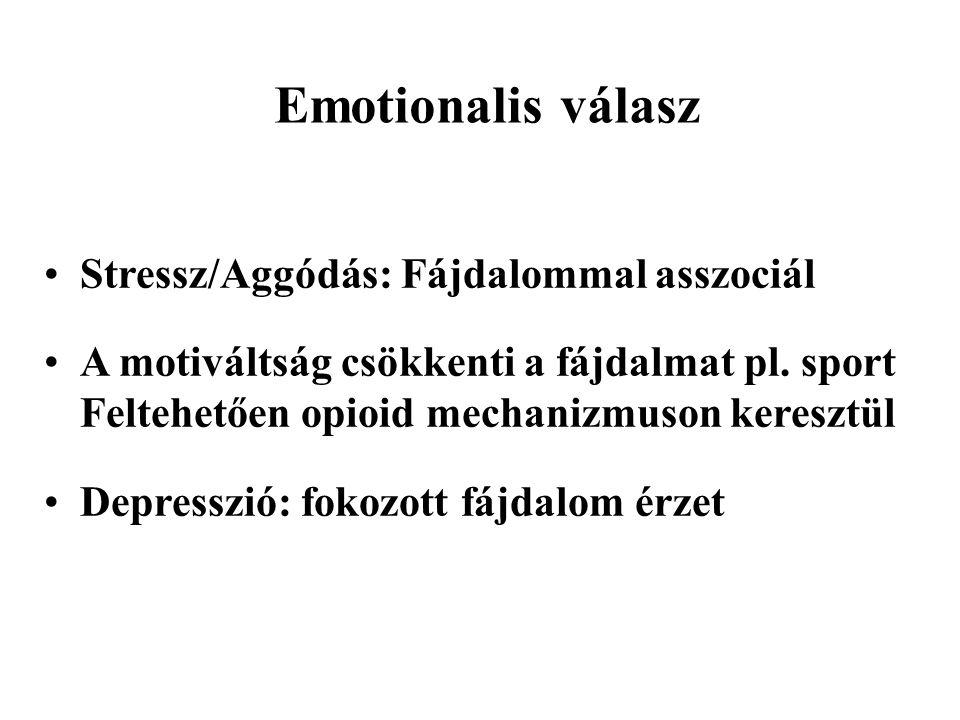 Emotionalis válasz Stressz/Aggódás: Fájdalommal asszociál A motiváltság csökkenti a fájdalmat pl.
