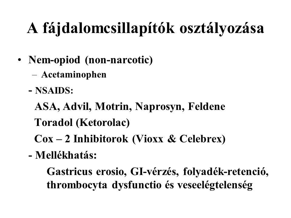 A fájdalomcsillapítók osztályozása Nem-opiod (non-narcotic) –Acetaminophen - NSAIDS: ASA, Advil, Motrin, Naprosyn, Feldene Toradol (Ketorolac) Cox – 2 Inhibitorok (Vioxx & Celebrex) - Mellékhatás: Gastricus erosio, GI-vérzés, folyadék-retenció, thrombocyta dysfunctio és veseelégtelenség