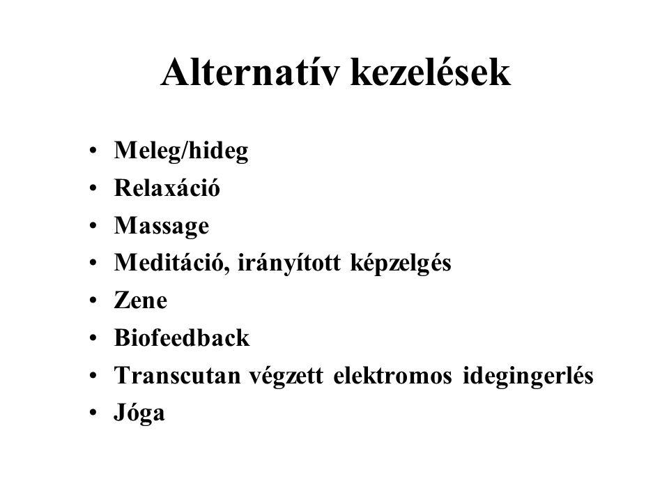 Alternatív kezelések Meleg/hideg Relaxáció Massage Meditáció, irányított képzelgés Zene Biofeedback Transcutan végzett elektromos idegingerlés Jóga