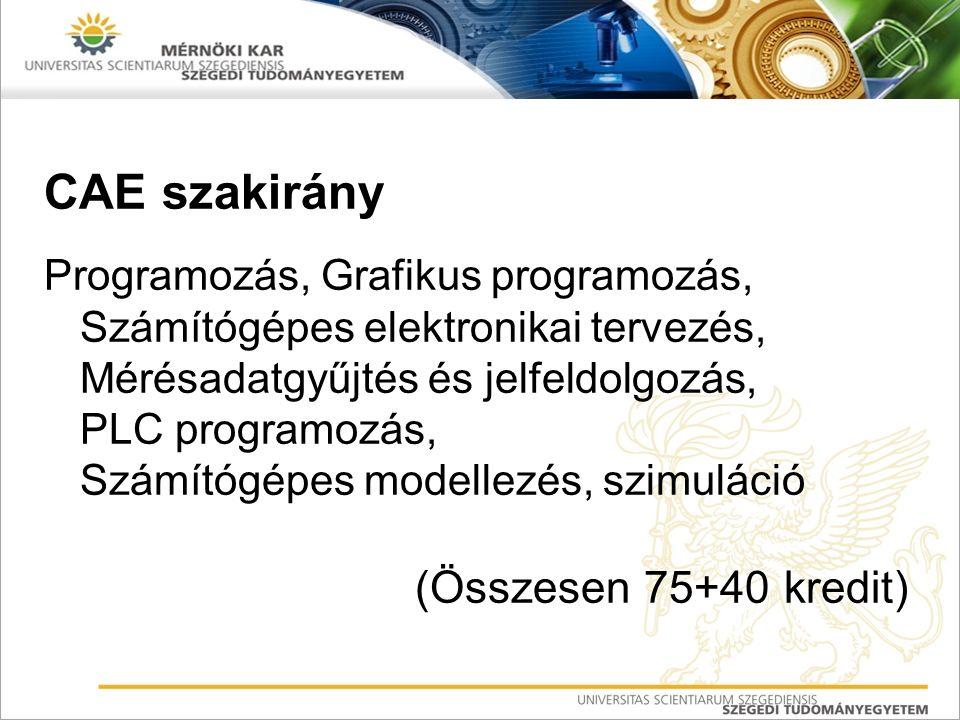 CAE szakirány Programozás, Grafikus programozás, Számítógépes elektronikai tervezés, Mérésadatgyűjtés és jelfeldolgozás, PLC programozás, Számítógépes modellezés, szimuláció (Összesen 75+40 kredit)