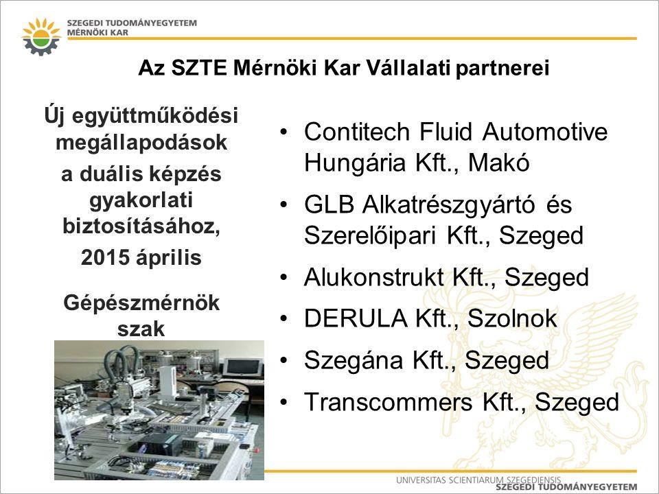 Az SZTE Mérnöki Kar Vállalati partnerei Contitech Fluid Automotive Hungária Kft., Makó GLB Alkatrészgyártó és Szerelőipari Kft., Szeged Alukonstrukt Kft., Szeged DERULA Kft., Szolnok Szegána Kft., Szeged Transcommers Kft., Szeged Új együttműködési megállapodások a duális képzés gyakorlati biztosításához, 2015 április Gépészmérnök szak