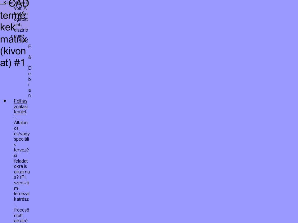 Kivála sztási segéd – CAD termé kek mátrix (kivon at) #1 Kiindulópont volt: A legtám ogatott abb disztrib úciók SUS E & D e b i a n ●Felhas ználási terület – Általán os és/vagy speciáli s tervezé si feladat okra is alkalma s.