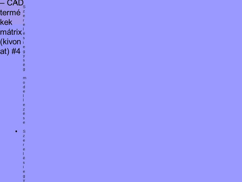 Kivála sztási segéd – CAD termé kek mátrix (kivon at) #4 ● Szerelésiegység modellezése●Szerelésiegység ütközésvizsgálata●Szerelésiegység mozgásszimulációja●NC/CNC program generálás és megmunkálás szimuláció● Szerelésiegység modellezése●Szerelésiegység ütközésvizsgálata●Szerelésiegység mozgásszimulációja●NC/CNC program generálás és megmunkálás szimuláció