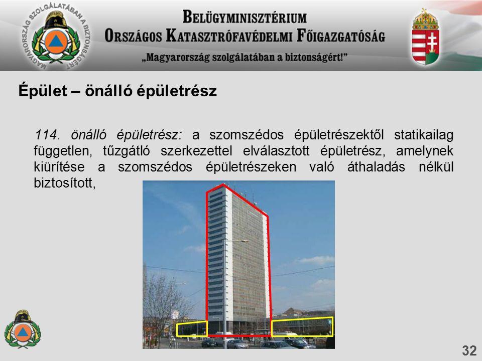 114. önálló épületrész: a szomszédos épületrészektől statikailag független, tűzgátló szerkezettel elválasztott épületrész, amelynek kiürítése a szomsz