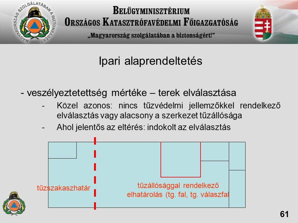 Ipari alaprendeltetés - veszélyeztetettség mértéke – terek elválasztása -Közel azonos: nincs tűzvédelmi jellemzőkkel rendelkező elválasztás vagy alacsony a szerkezet tűzállósága -Ahol jelentős az eltérés: indokolt az elválasztás 61 tűzszakaszhatár tűzállósággal rendelkező elhatárolás (tg.