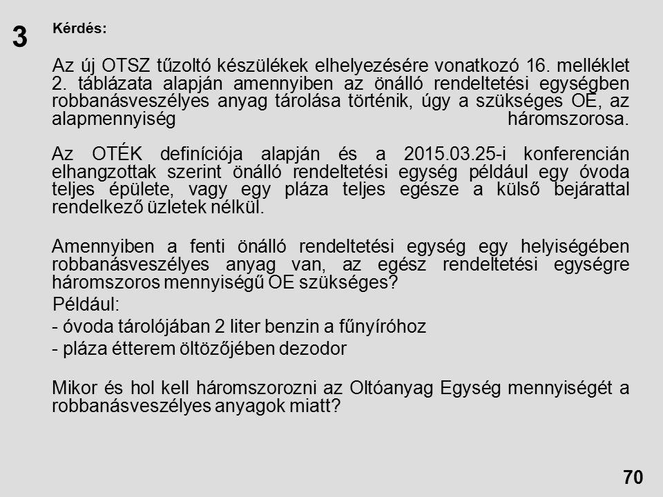 Kérdés: Az új OTSZ tűzoltó készülékek elhelyezésére vonatkozó 16.