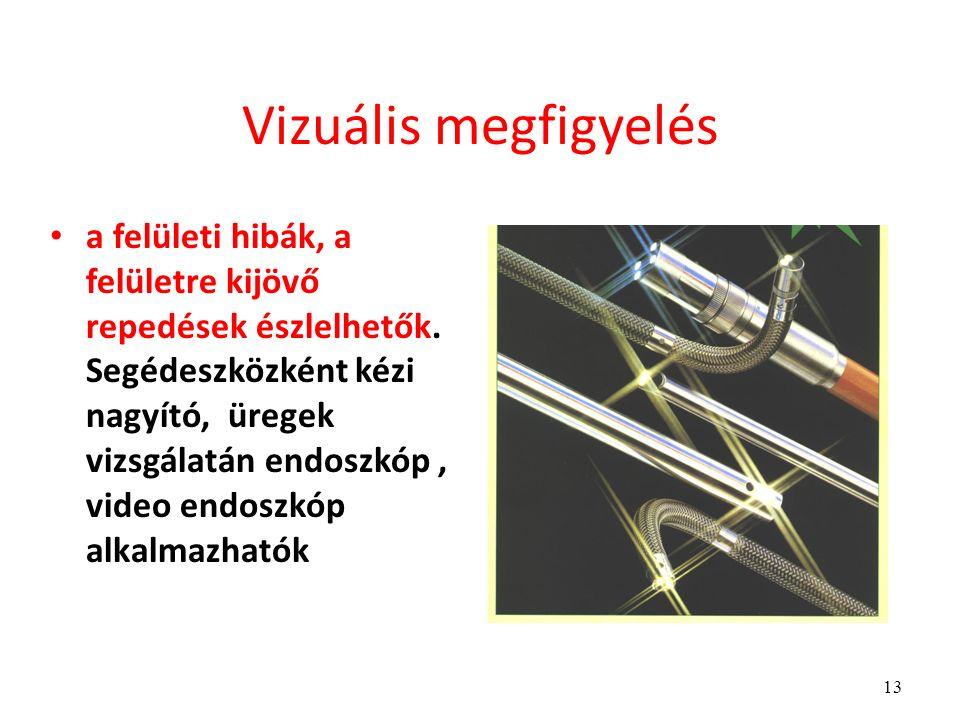 13 Vizuális megfigyelés a felületi hibák, a felületre kijövő repedések észlelhetők.