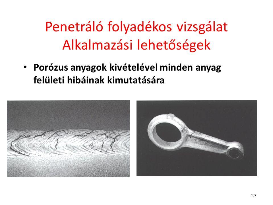 23 Penetráló folyadékos vizsgálat Alkalmazási lehetőségek Porózus anyagok kivételével minden anyag felületi hibáinak kimutatására