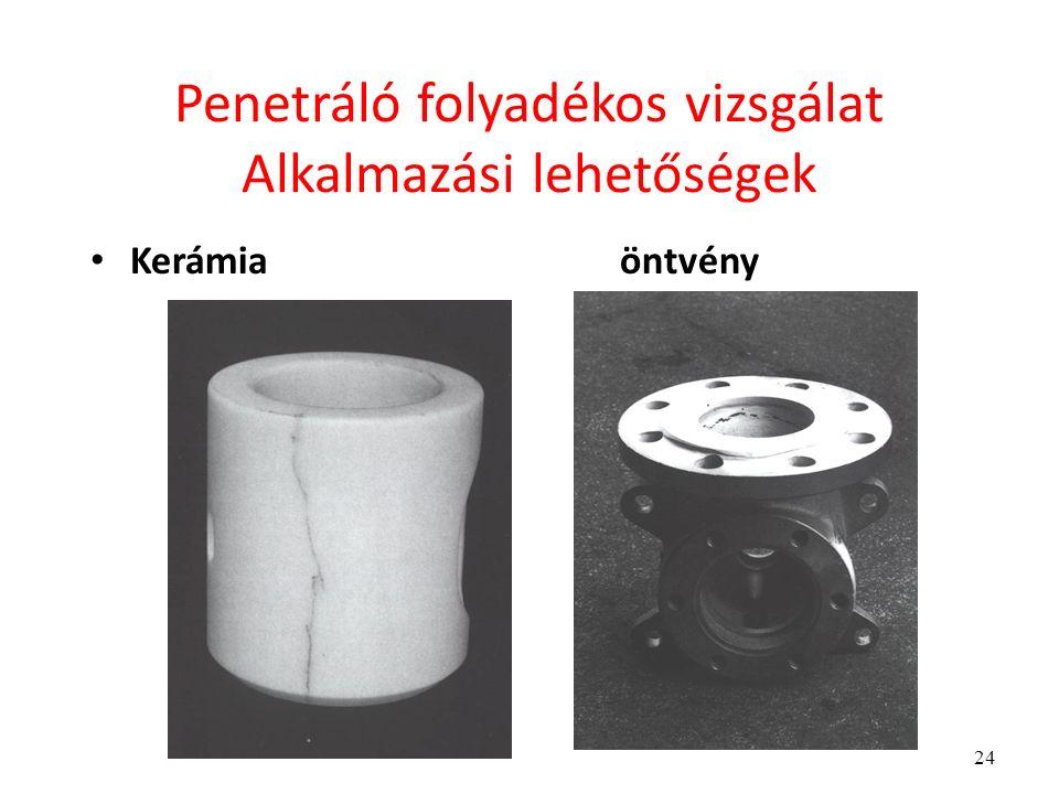 24 Penetráló folyadékos vizsgálat Alkalmazási lehetőségek Kerámiaöntvény