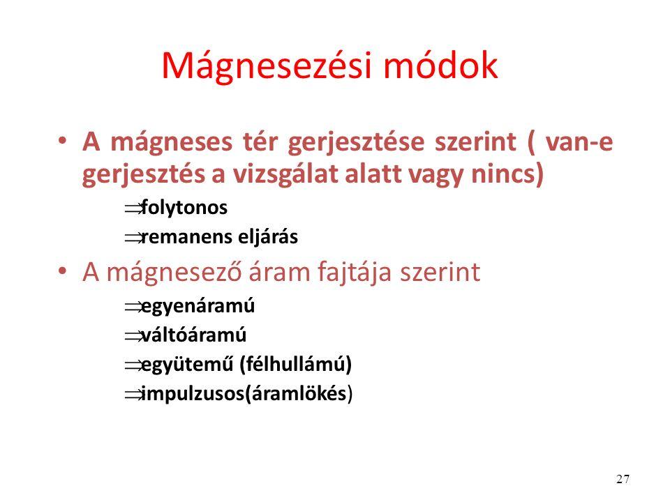 27 Mágnesezési módok A mágneses tér gerjesztése szerint ( van-e gerjesztés a vizsgálat alatt vagy nincs)  folytonos  remanens eljárás A mágnesező áram fajtája szerint  egyenáramú  váltóáramú  együtemű (félhullámú)  impulzusos(áramlökés)