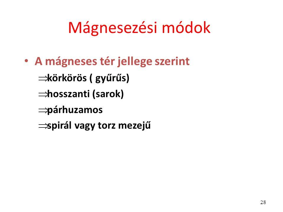 28 Mágnesezési módok A mágneses tér jellege szerint  körkörös ( gyűrűs)  hosszanti (sarok)  párhuzamos  spirál vagy torz mezejű