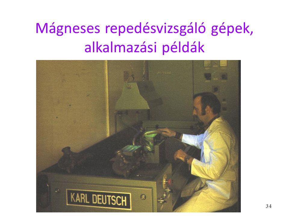 34 Mágneses repedésvizsgáló gépek, alkalmazási példák
