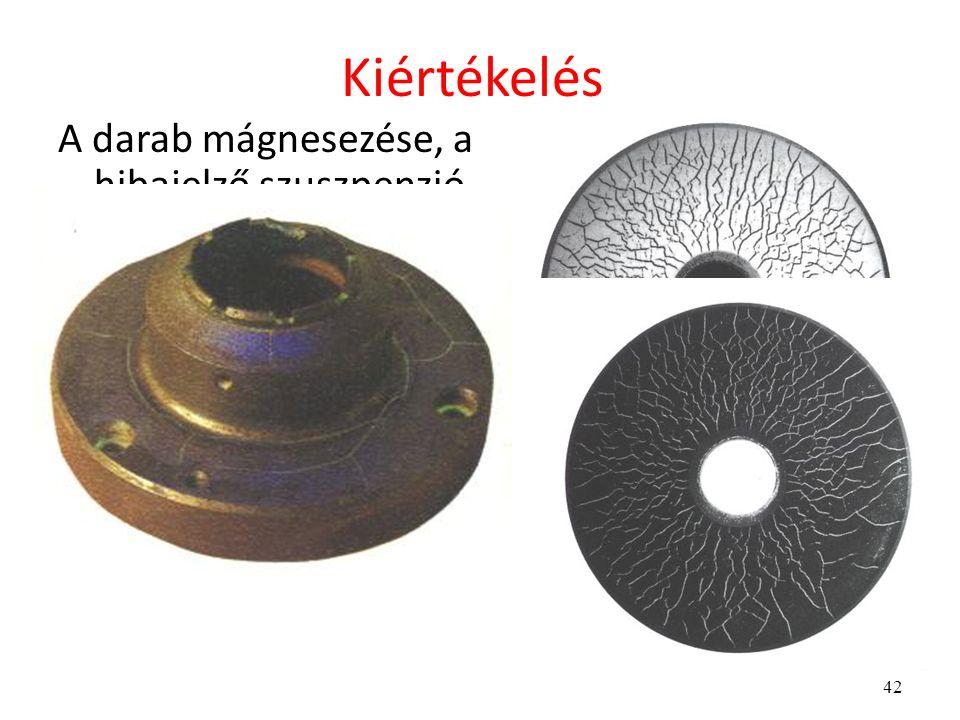 42 Kiértékelés A darab mágnesezése, a hibajelző szuszpenzió felhordása után a darabot szemrevételezzük. A szemrevételezést a hibakimutatásra használt