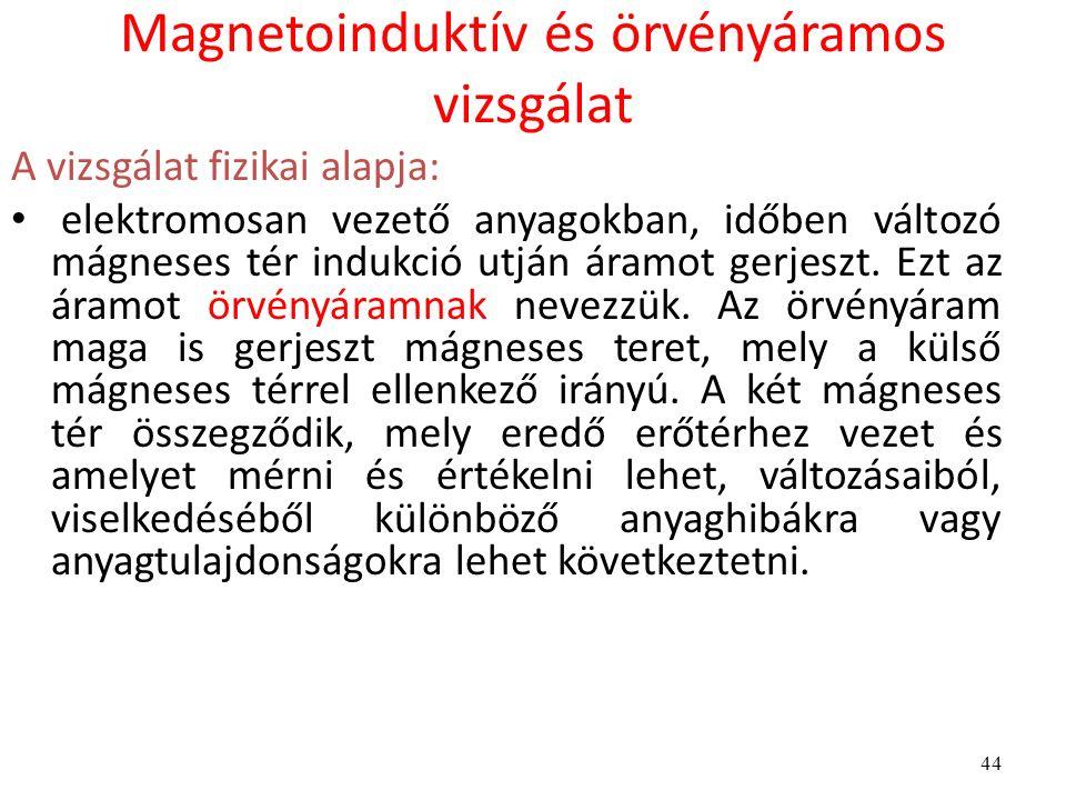 44 Magnetoinduktív és örvényáramos vizsgálat A vizsgálat fizikai alapja: elektromosan vezető anyagokban, időben változó mágneses tér indukció utján ár