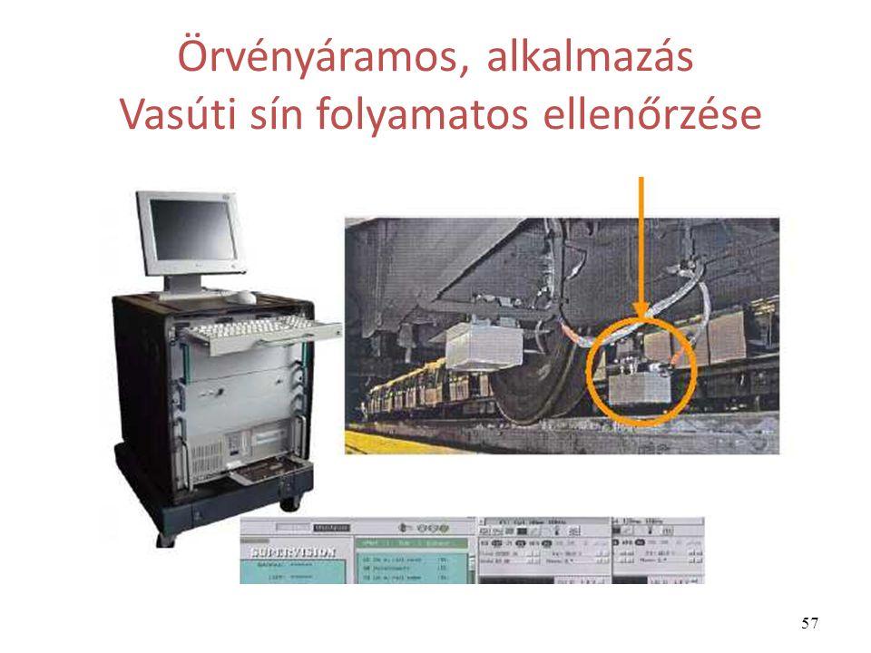57 Örvényáramos, alkalmazás Vasúti sín folyamatos ellenőrzése