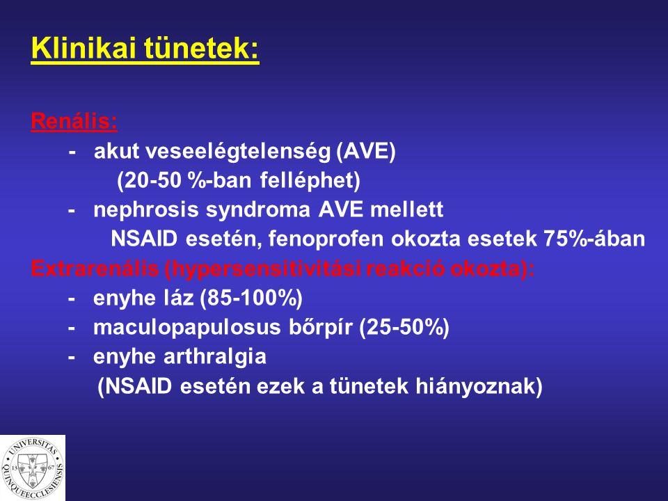 Klinikai tünetek: Renális: - akut veseelégtelenség (AVE) (20-50 %-ban felléphet) - nephrosis syndroma AVE mellett NSAID esetén, fenoprofen okozta esetek 75%-ában Extrarenális (hypersensitivitási reakció okozta): - enyhe láz (85-100%) - maculopapulosus bőrpír (25-50%) - enyhe arthralgia (NSAID esetén ezek a tünetek hiányoznak)