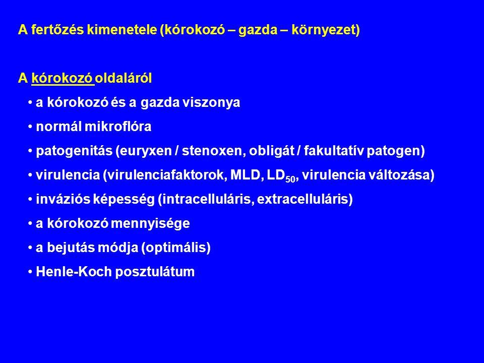 A fertőzés kimenetele (kórokozó – gazda – környezet) A kórokozó oldaláról a kórokozó és a gazda viszonya normál mikroflóra patogenitás (euryxen / stenoxen, obligát / fakultatív patogen) virulencia (virulenciafaktorok, MLD, LD 50, virulencia változása) inváziós képesség (intracelluláris, extracelluláris) a kórokozó mennyisége a bejutás módja (optimális) Henle-Koch posztulátum