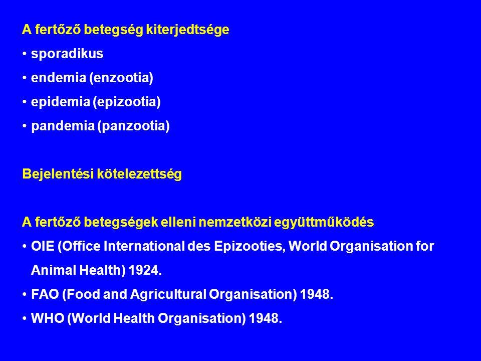 A fertőző betegség kiterjedtsége sporadikus endemia (enzootia) epidemia (epizootia) pandemia (panzootia) Bejelentési kötelezettség A fertőző betegségek elleni nemzetközi együttműködés OIE (Office International des Epizooties, World Organisation for Animal Health) 1924.