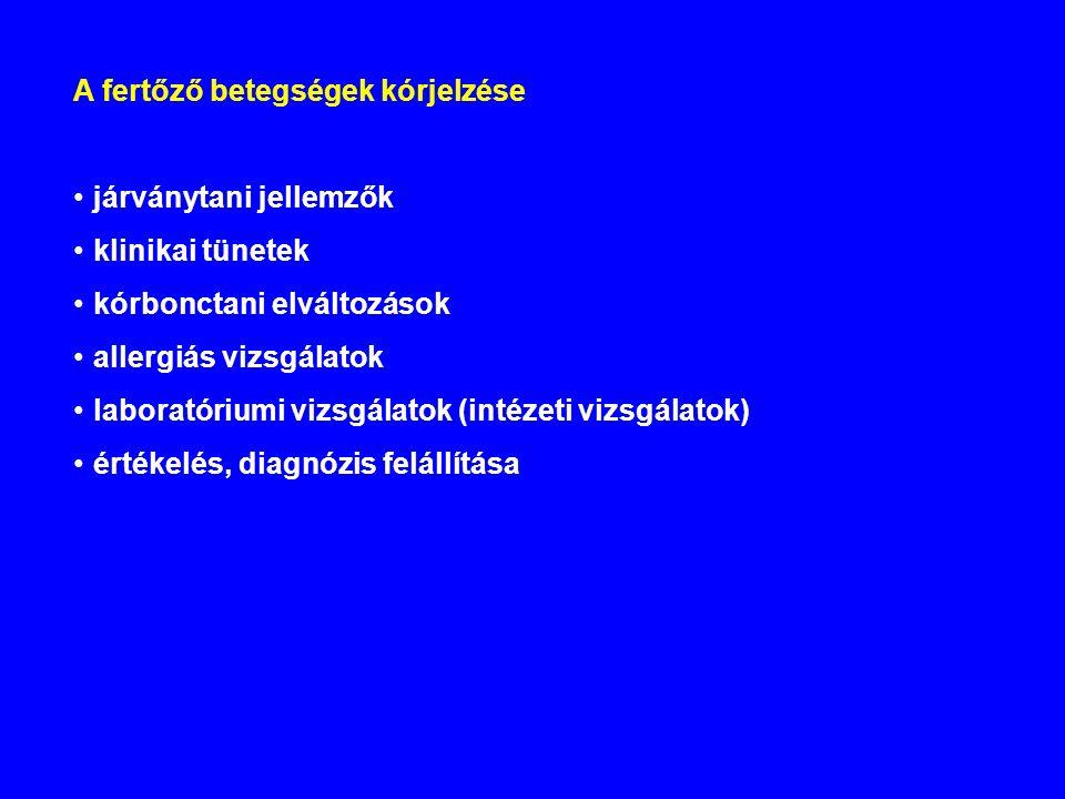 A fertőző betegségek kórjelzése járványtani jellemzők klinikai tünetek kórbonctani elváltozások allergiás vizsgálatok laboratóriumi vizsgálatok (intézeti vizsgálatok) értékelés, diagnózis felállítása