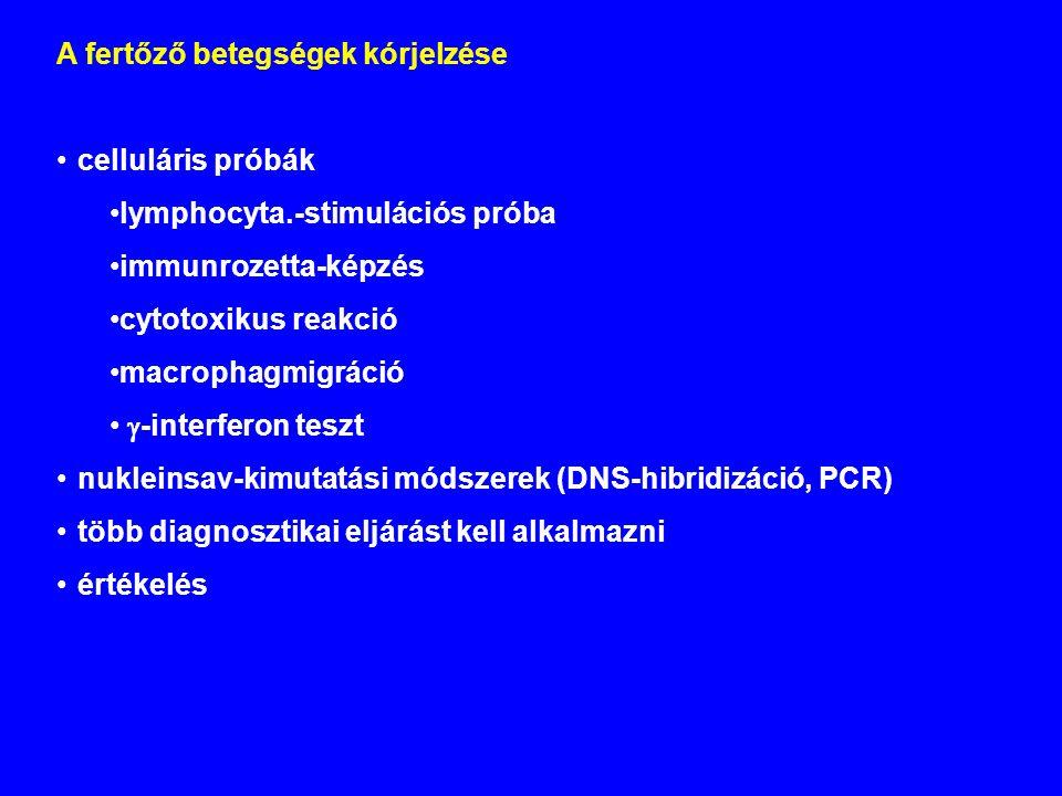 A fertőző betegségek kórjelzése celluláris próbák lymphocyta.-stimulációs próba immunrozetta-képzés cytotoxikus reakció macrophagmigráció  -interferon teszt nukleinsav-kimutatási módszerek (DNS-hibridizáció, PCR) több diagnosztikai eljárást kell alkalmazni értékelés