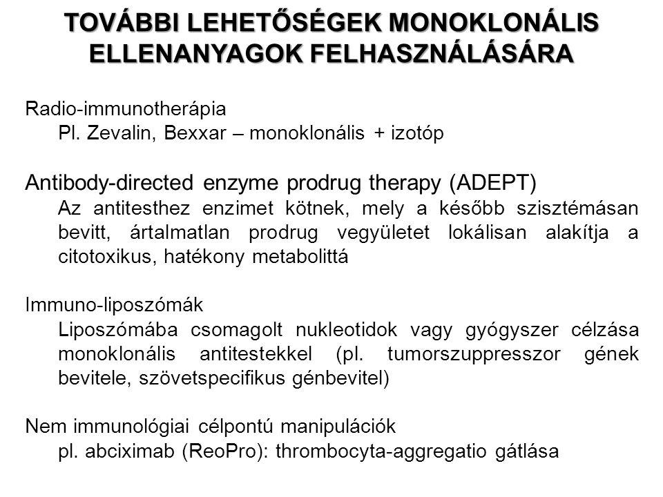 Radio-immunotherápia Pl. Zevalin, Bexxar – monoklonális + izotóp Antibody-directed enzyme prodrug therapy (ADEPT) Az antitesthez enzimet kötnek, mely