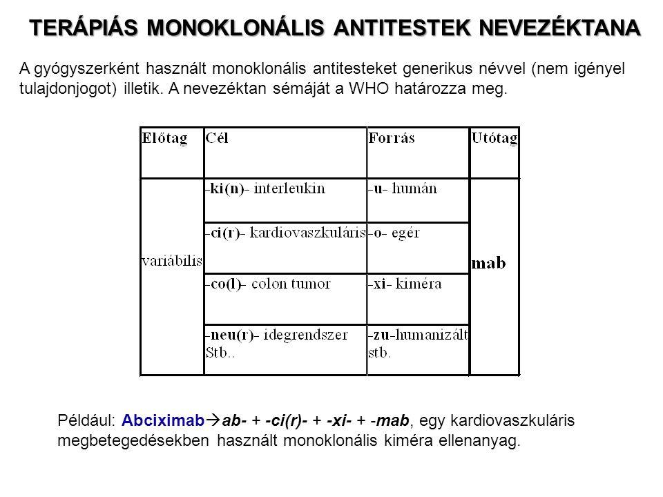 TERÁPIÁS MONOKLONÁLIS ANTITESTEK NEVEZÉKTANA TERÁPIÁS MONOKLONÁLIS ANTITESTEK NEVEZÉKTANA A gyógyszerként használt monoklonális antitesteket generikus