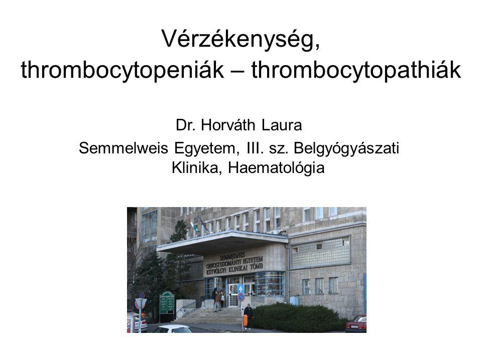 Vérzékenység, thrombocytopeniák – thrombocytopathiák Dr. Horváth Laura Semmelweis Egyetem, III. sz. Belgyógyászati Klinika, Haematológia
