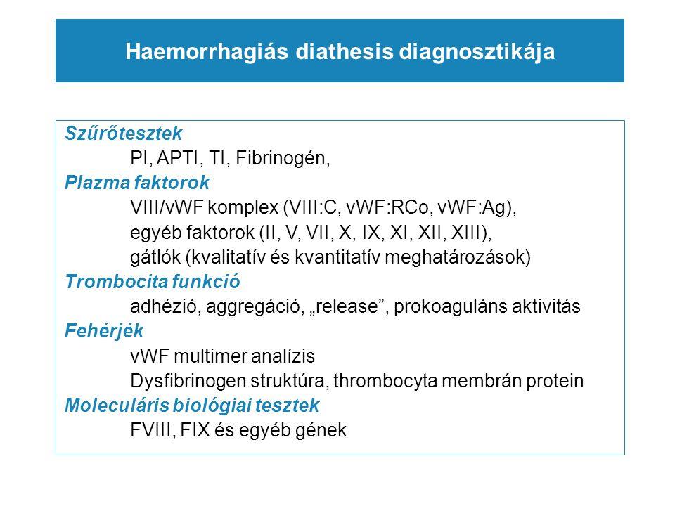 """Haemorrhagiás diathesis diagnosztikája Szűrőtesztek PI, APTI, TI, Fibrinogén, Plazma faktorok VIII/vWF komplex (VIII:C, vWF:RCo, vWF:Ag), egyéb faktorok (II, V, VII, X, IX, XI, XII, XIII), gátlók (kvalitatív és kvantitatív meghatározások) Trombocita funkció adhézió, aggregáció, """"release , prokoaguláns aktivitás Fehérjék vWF multimer analízis Dysfibrinogen struktúra, thrombocyta membrán protein Moleculáris biológiai tesztek FVIII, FIX és egyéb gének"""