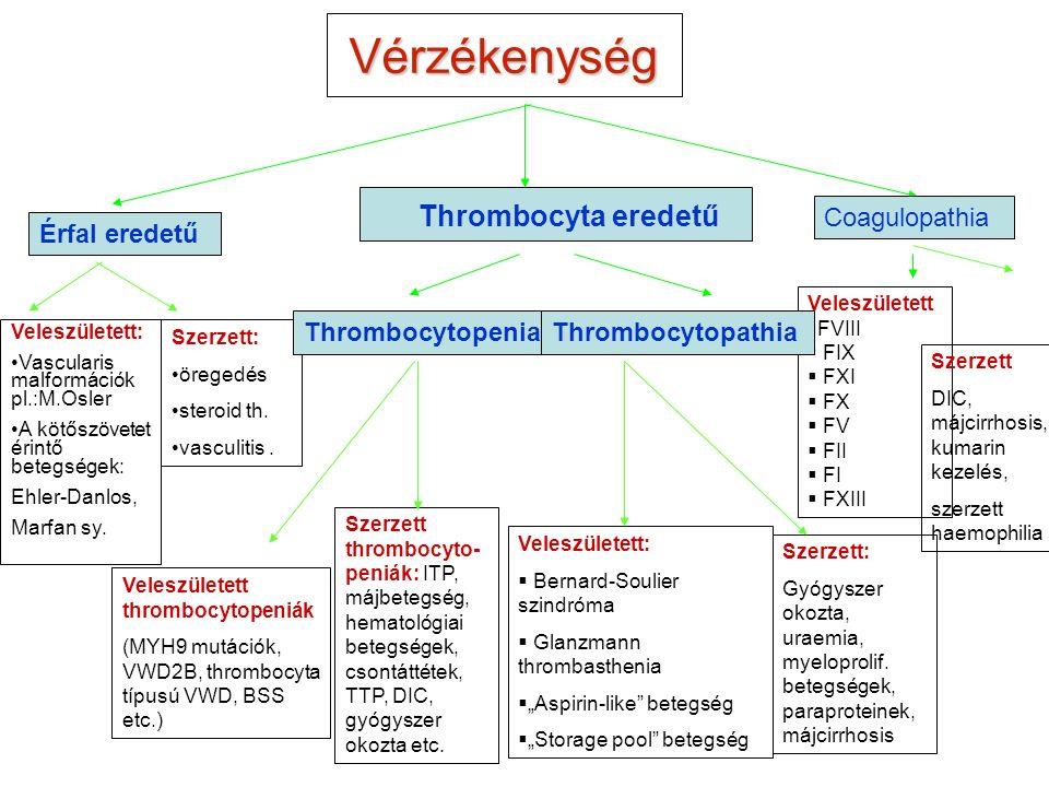 """Vérzékenység Thrombocyta eredetű Érfal eredetű Veleszületett:  Bernard-Soulier szindróma  Glanzmann thrombasthenia  """"Aspirin-like betegség  """"Storage pool betegség Veleszületett  FVIII  FIX  FXI  FX  FV  FII  FI  FXIII Veleszületett thrombocytopeniák (MYH9 mutációk, VWD2B, thrombocyta típusú VWD, BSS etc.) Veleszületett: Vascularis malformációk pl.:M.Osler A kötőszövetet érintő betegségek: Ehler-Danlos, Marfan sy."""