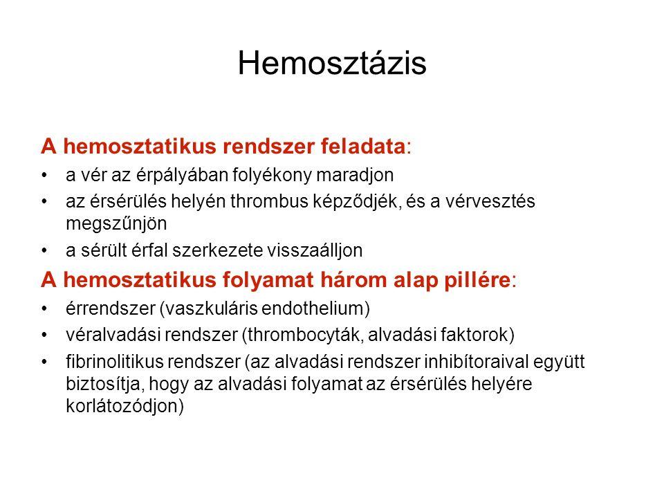 Hemosztázis A hemosztatikus rendszer feladata: a vér az érpályában folyékony maradjon az érsérülés helyén thrombus képződjék, és a vérvesztés megszűnjön a sérült érfal szerkezete visszaálljon A hemosztatikus folyamat három alap pillére: érrendszer (vaszkuláris endothelium) véralvadási rendszer (thrombocyták, alvadási faktorok) fibrinolitikus rendszer (az alvadási rendszer inhibítoraival együtt biztosítja, hogy az alvadási folyamat az érsérülés helyére korlátozódjon)