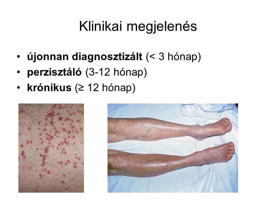 Klinikai megjelenés újonnan diagnosztizált (< 3 hónap) perzisztáló (3-12 hónap) krónikus (≥ 12 hónap)