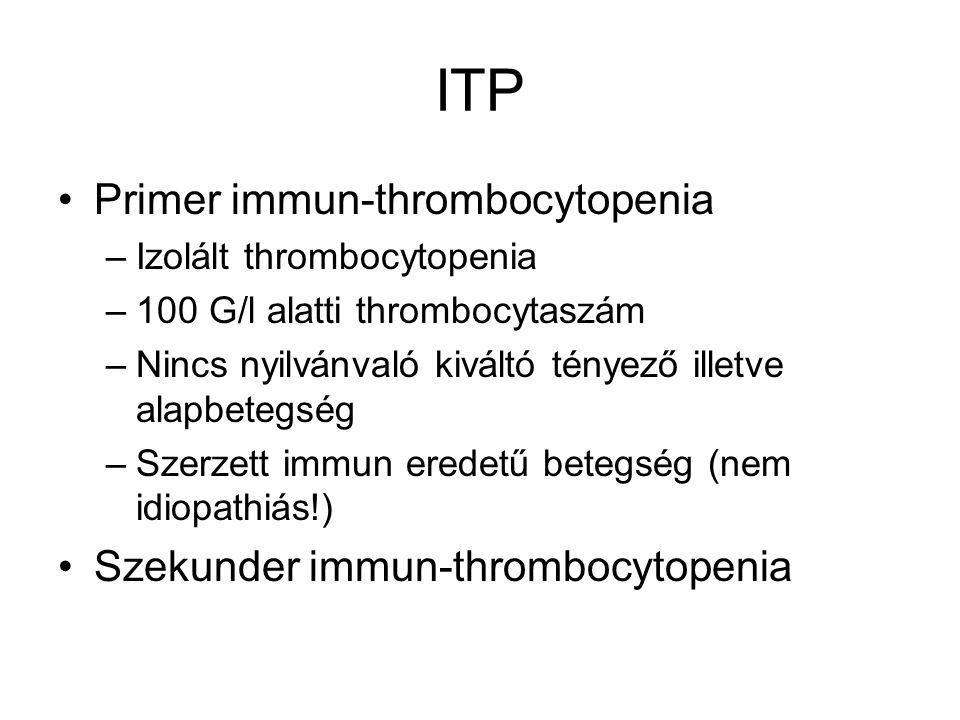 ITP Primer immun-thrombocytopenia –Izolált thrombocytopenia –100 G/l alatti thrombocytaszám –Nincs nyilvánvaló kiváltó tényező illetve alapbetegség –Szerzett immun eredetű betegség (nem idiopathiás!) Szekunder immun-thrombocytopenia