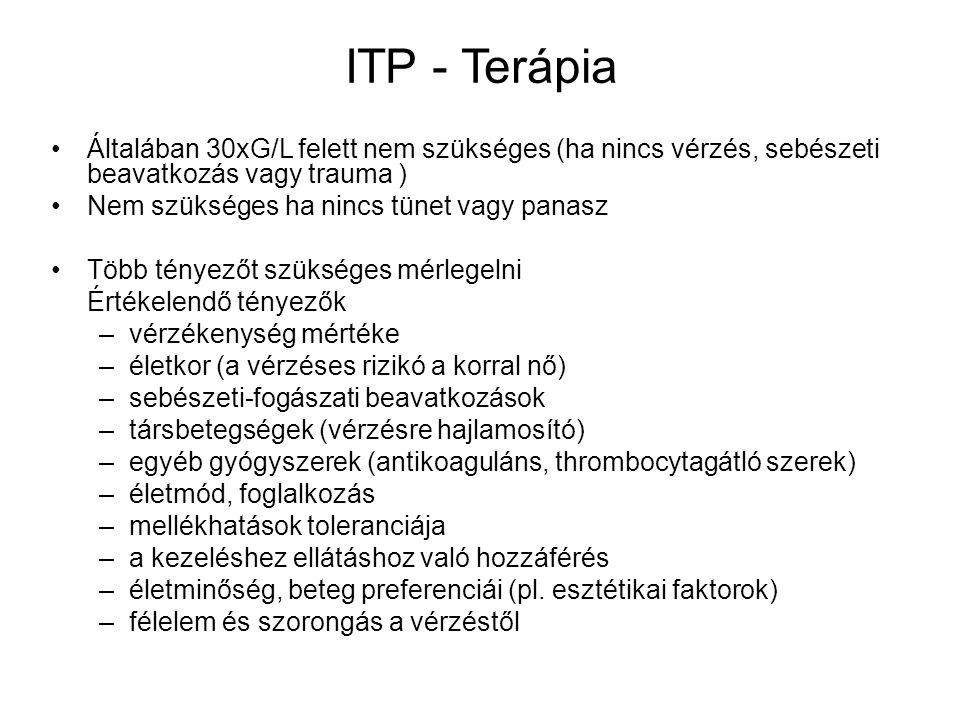 ITP - Terápia Általában 30xG/L felett nem szükséges (ha nincs vérzés, sebészeti beavatkozás vagy trauma ) Nem szükséges ha nincs tünet vagy panasz Töb