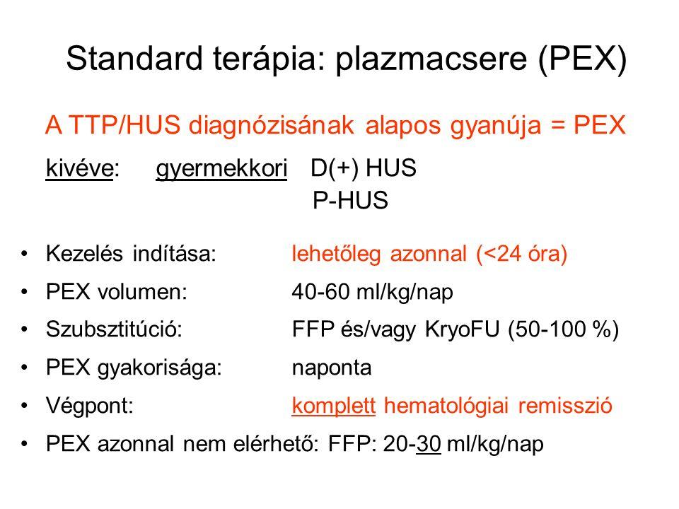 Standard terápia: plazmacsere (PEX) A TTP/HUS diagnózisának alapos gyanúja = PEX kivéve: gyermekkori D(+) HUS P-HUS Kezelés indítása:lehetőleg azonnal (<24 óra) PEX volumen:40-60 ml/kg/nap Szubsztitúció:FFP és/vagy KryoFU (50-100 %) PEX gyakorisága:naponta Végpont:komplett hematológiai remisszió PEX azonnal nem elérhető: FFP: 20-30 ml/kg/nap