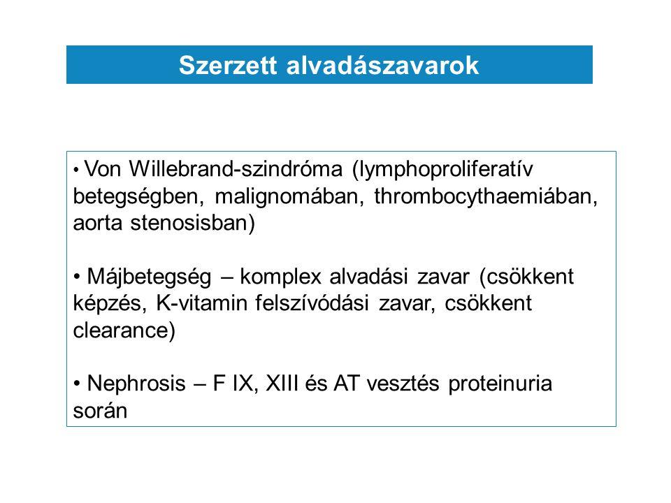 Szerzett alvadászavarok Von Willebrand-szindróma (lymphoproliferatív betegségben, malignomában, thrombocythaemiában, aorta stenosisban) Májbetegség – komplex alvadási zavar (csökkent képzés, K-vitamin felszívódási zavar, csökkent clearance) Nephrosis – F IX, XIII és AT vesztés proteinuria során
