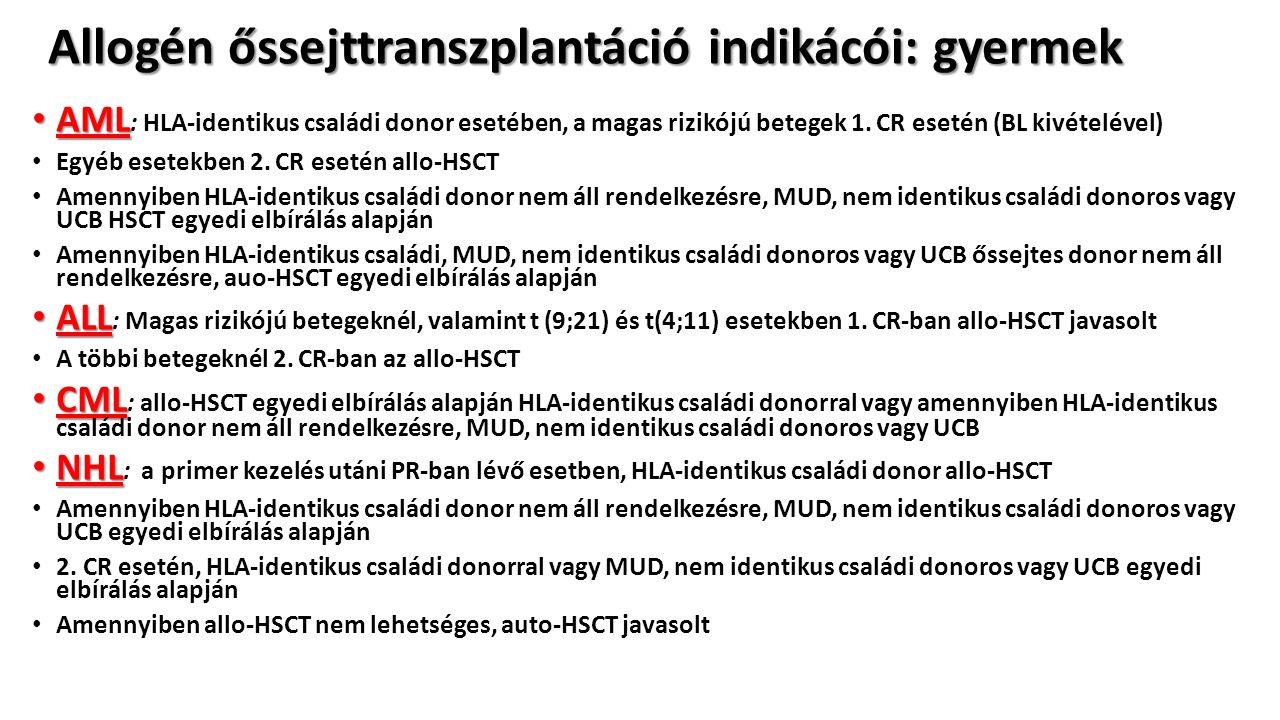 Allogén őssejttranszplantáció indikácói: gyermek AML AML : HLA-identikus családi donor esetében, a magas rizikójú betegek 1.