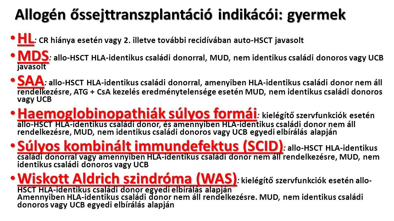 Allogén őssejttranszplantáció indikácói: gyermek HL HL : CR hiánya esetén vagy 2.