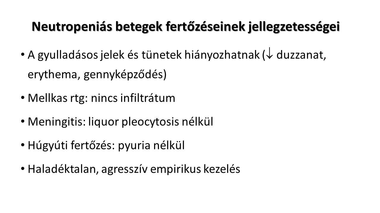 Neutropeniás betegek fertőzéseinek jellegzetességei A gyulladásos jelek és tünetek hiányozhatnak (  duzzanat, erythema, gennyképződés) Mellkas rtg: nincs infiltrátum Meningitis: liquor pleocytosis nélkül Húgyúti fertőzés: pyuria nélkül Haladéktalan, agresszív empirikus kezelés