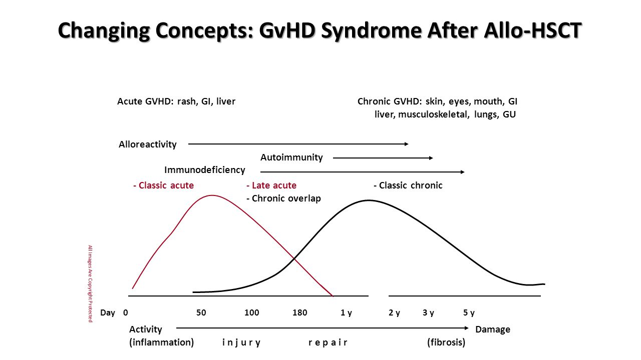 Changing Concepts: GvHD Syndrome After Allo-HSCT Day 050100180 1 y2 y 3 y 5 y Acute GVHD: rash, GI, liverChronic GVHD: skin, eyes, mouth, GI liver, musculoskeletal, lungs, GU - Classic acute - Late acute- Classic chronic - Chronic overlap Activity Damage (inflammation) i n j u r y r e p a i r (fibrosis) Alloreactivity Autoimmunity Immunodeficiency All Images Are Copyright Protected