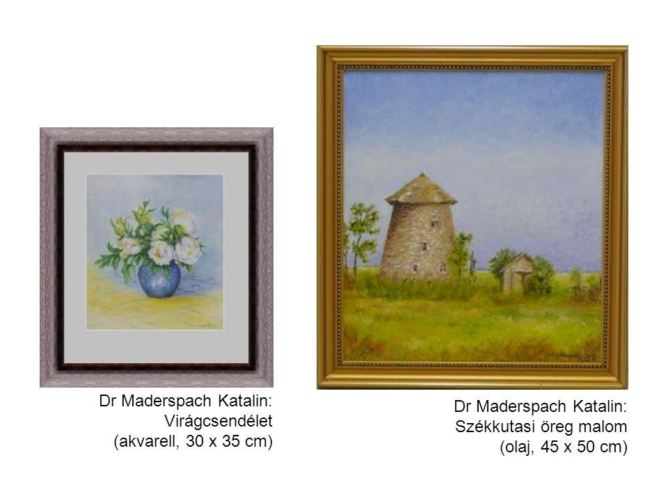 Dr Maderspach Katalin: Virágcsendélet (akvarell, 30 x 35 cm) Dr Maderspach Katalin: Székkutasi öreg malom (olaj, 45 x 50 cm)