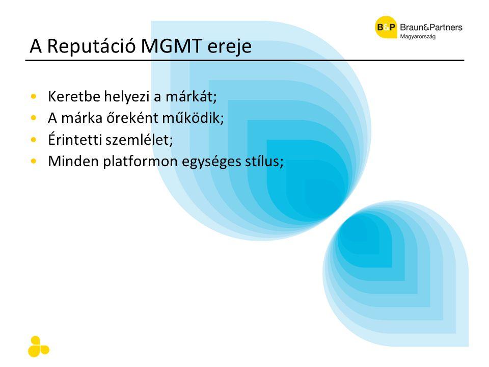A Reputáció MGMT ereje Keretbe helyezi a márkát; A márka őreként működik; Érintetti szemlélet; Minden platformon egységes stílus;