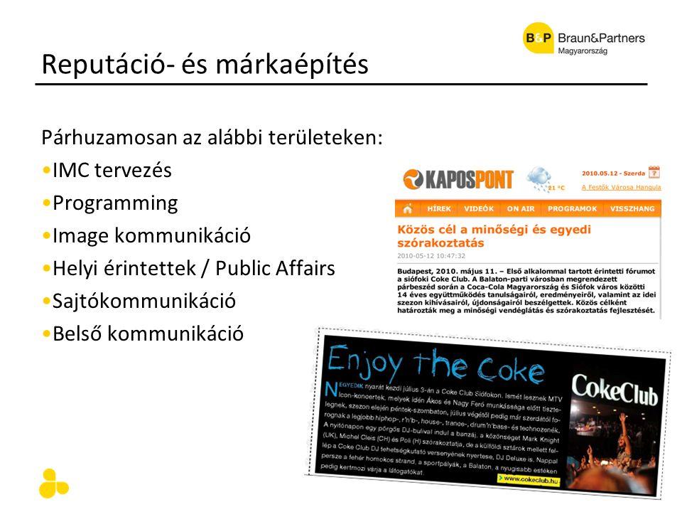 Reputáció- és márkaépítés Párhuzamosan az alábbi területeken: IMC tervezés Programming Image kommunikáció Helyi érintettek / Public Affairs Sajtókommu