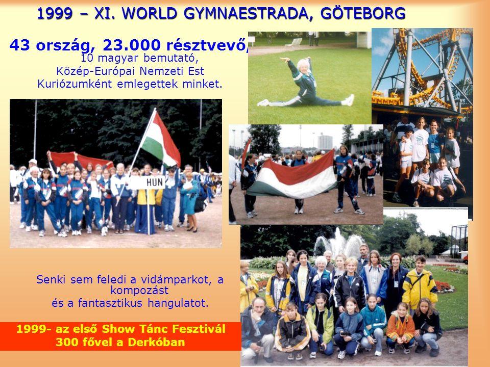 1999 – XI. WORLD GYMNAESTRADA, GÖTEBORG 43 ország, 23.000 résztvevő, 10 magyar bemutató, Közép-Európai Nemzeti Est Kuriózumként emlegettek minket. Sen