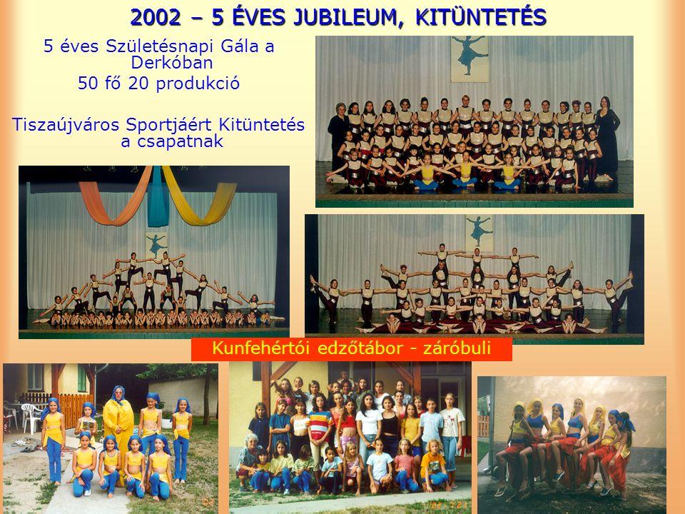 2002 – 5 ÉVES JUBILEUM, KITÜNTETÉS 5 éves Születésnapi Gála a Derkóban 50 fő 20 produkció Tiszaújváros Sportjáért Kitüntetés a csapatnak Kunfehértói edzőtábor - záróbuli