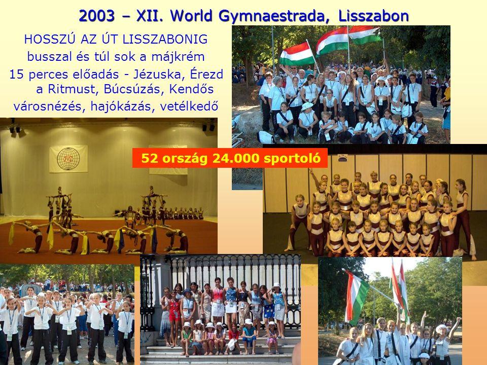2003 – XII. World Gymnaestrada, Lisszabon HOSSZÚ AZ ÚT LISSZABONIG busszal és túl sok a májkrém 15 perces előadás - Jézuska, Érezd a Ritmust, Búcsúzás