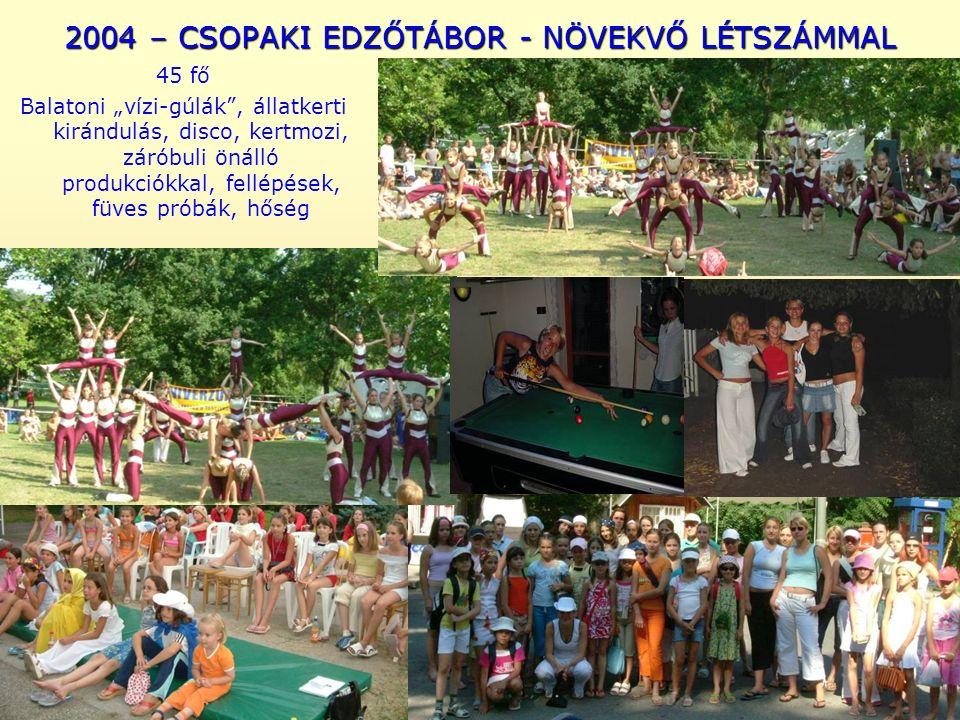 """2004 – CSOPAKI EDZŐTÁBOR - NÖVEKVŐ LÉTSZÁMMAL 45 fő Balatoni """"vízi-gúlák , állatkerti kirándulás, disco, kertmozi, záróbuli önálló produkciókkal, fellépések, füves próbák, hőség"""