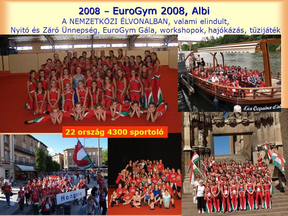 2008 – EuroGym 2008, Albi A NEMZETKÖZI ÉLVONALBAN, valami elindult, Nyitó és Záró Ünnepség, EuroGym Gála, workshopok, hajókázás, tűzijáték 22 ország 4300 sportoló