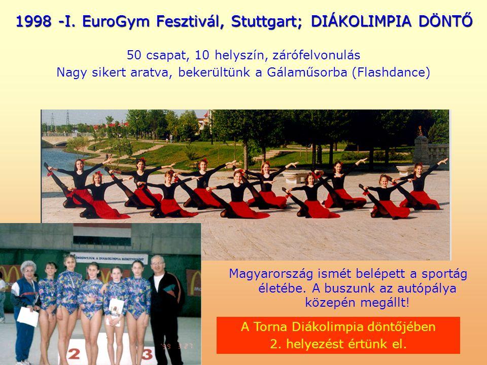 1998 -I. EuroGym Fesztivál, Stuttgart; DIÁKOLIMPIA DÖNTŐ 50 csapat, 10 helyszín, zárófelvonulás Nagy sikert aratva, bekerültünk a Gálaműsorba (Flashda