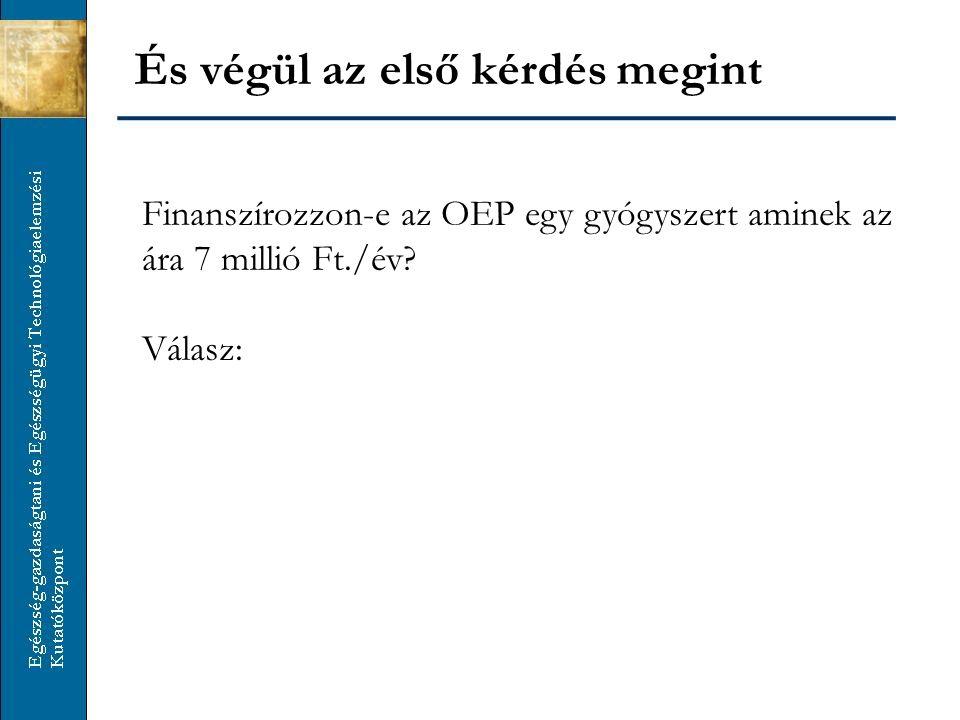 És végül az első kérdés megint Finanszírozzon-e az OEP egy gyógyszert aminek az ára 7 millió Ft./év? Válasz: